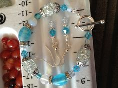 Silver, crystal and blue beaded bracelet and earring set. SALE! £3.00