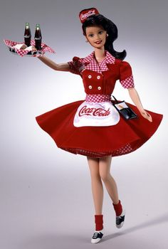 Looking for the Coca-Cola Barbie Doll - Brunette Waitress? Immerse yourself in Barbie history by visiting the official Barbie Signature Gallery today! Barbie I, Vintage Barbie Dolls, Barbie World, Barbie Dress, Barbie And Ken, Barbie Clothes, Barbie Doll Stuff, Barbie Blog, Barbies Dolls