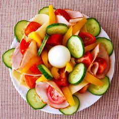 #Ketogenic #Paleo Salad for Lunch :: boiled egg, chicken or turkey deli meat, cucumber, orange and yellow bell pepper, tomato