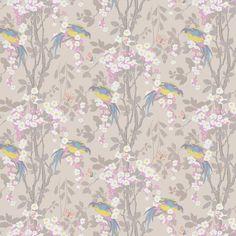 Loriini by Little Greene - Dorian - Wallpaper : Wallpaper Direct Wall Candy, Little Greene, Pink Blue, Yellow, Bird Perch, True Colors, Oriental, Art Gallery, Birds