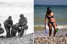 D-Day Landing Sites Then and Now: Normandy Beaches in 1944 and 70 Years Later