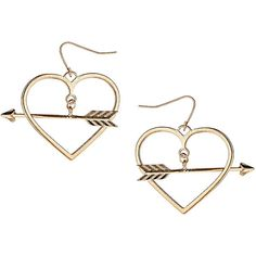 Arrow Through Heart Earrings ($18) ❤ liked on Polyvore