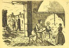 Xilografía alusiva en cabecera del Niño Jesús, una mujer y una niña junto a una hoguera, al fondo la Virgen María y San José llaman a una puerta