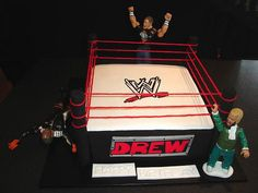 I would use the pull apart twizzler strings for the rope. Wrestling Birthday Cakes, Wrestling Cake, 8th Birthday Cake, 10th Birthday Parties, Birthday Stuff, Birthday Ideas, Wwe Cake, Wwe Party, Party On Garth