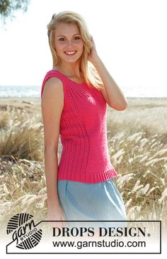 """Pretty pink - Knitted DROPS tight-fitting top with rib and lace pattern in """"Cotton Light"""". Size: S - XXXL. - Free pattern by DROPS Design Drops Patterns, Pink Patterns, Crochet Patterns, Drops Design, Summer Knitting, Free Knitting, Sweater Knitting Patterns, Knitting Designs, Knit Crochet"""
