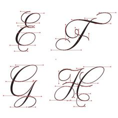 E-H flourished Copperplate with vector points.