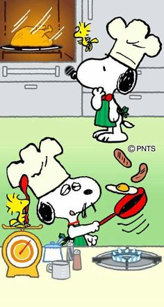 Chefs Snoopy, Spike abd Woodstock in the kitchen.
