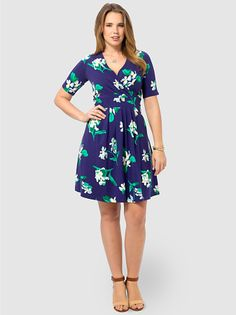 Indigo Floral Fit  Flare Dress by Lands'End,Available in sizes M/L,0X/1X/2X and 3X