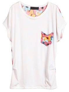 White Short Sleeve Red Print Chiffon T-Shirt - Sheinside.com