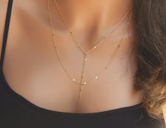 Gold Lariat Necklace Gold or Silver Multi Strand Necklace