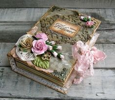 book with pink roses