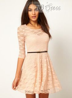 Attractive Slim Half Sleeves with Belt Lace Dress