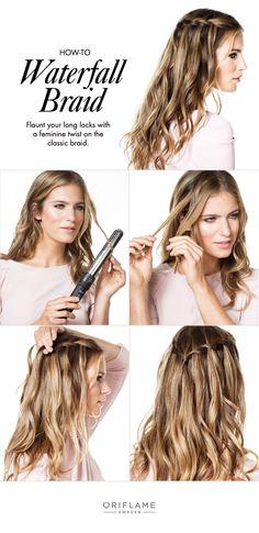 A waterfall braid gives a feminine twist on the classic braid.