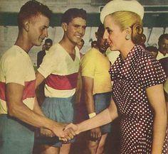 """Eva Perón meets Peronist youth soccer teams. One of the initiatives by the """"Eva Perón Foundación""""."""