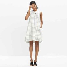 Sleeveless shirt dress in grid print, $110, available at Madewell.