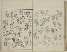 Jinbutsu ryakuga shiki 人物略画式 (Figures in the Abbreviated Picture Style). Right page, below.