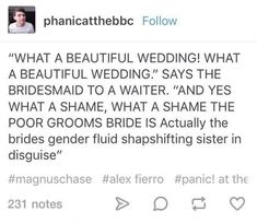 Who also happens to fall for the moron that's just standing there with no official place in the wedding << Basically how that scene went Rick Riordan Series, Rick Riordan Books, Percy Jackson Memes, Percy Jackson Fandom, Magnus Chase, Solangelo, Percabeth, Leo Valdez, Alex Fierro