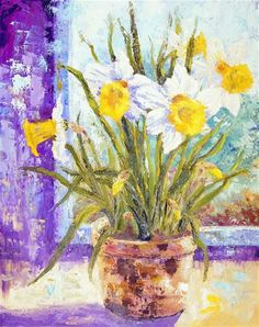 """Daily Paintworks - """"Spring Daffodils"""" - Original Fine Art for Sale - © Marion Hedger"""