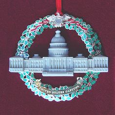 The 2003 Marble & Wreath Capitol Ornament combines Wreath and Marble to capture the true spirit of the Nation. White House Ornaments, White House Christmas Ornament, Christmas Photos, Christmas Holidays, House Trees, Ulysses S Grant, Laura Bush, When We Get Married, Blue Rooms