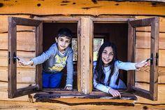 Kinder, Fenster, Spielen, Kindheit
