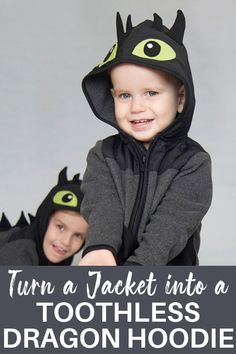 Turn a jacket into a toothless dragon hoodie with this fun tutorial. #dragonhoodie #sewing