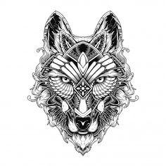 Wolf illustration, tattoo and tshirt design Premium Vector Wolf Illustration, Free Poster, Adobe Illustrator, Mandala Wolf, Wolf Life, Wolf Images, Spider Bites, Tattoo T Shirts, Mandalas Drawing