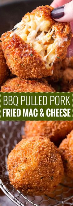 BBQ Pulled Pork Fried Mac and Cheese Bites   5 cheese homemade Mac and cheese, slow cooker bbq pulled pork, combined and breaded in crispy spiced panko and fried until perfectly golden!   https://thechunkychef.com   #appetizer #gameday #tailgating #friedmacandcheese #pulledpork