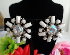 WEISS Vintage Jewelry - Floral Silvertone Earrings with White Enamel Leaves and a Rhinestone Center by CCCsVintageJewelry on Etsy
