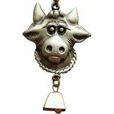 Vintage Pewter Cow Necklace With Bell Moo Ding Ding