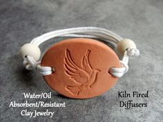 Dove Aromatherapy Diffuser Bracelet Charm or by KilnFiredDiffusers