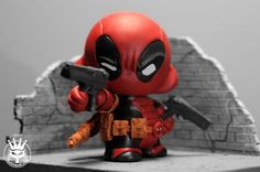 AVAILABLE - Custom Kidrobot Deadpool munny by The Iron Cat. Handmade real leather belt, sachels and woven laced scabbards for removable katanas. Comes with the base and brick walls. Visit The Iron Cat facebook page, instagram and Etsy shop for more cool items from DC Comics, Marvel, Batman and Superman Custom order request is available. Almost anything can be done ! Star Wars, Avengers, Video game characters and more !