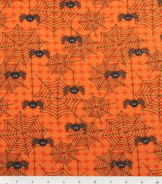 Holiday Inspirations Fabric-Dancing Spiders 4 Glitter