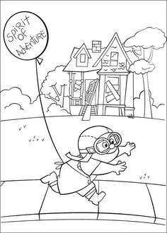 Printable Disney Up Plot Running With Balloon Coloring Pages