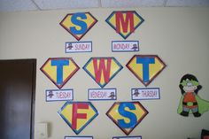 Superhero letters Kids can do initial and on background write character traits tht describe them Superhero School Theme, Superhero Classroom Decorations, Superhero Letters, Superhero Room, School Decorations, School Themes, Classroom Themes, School Fun, Classroom Tools