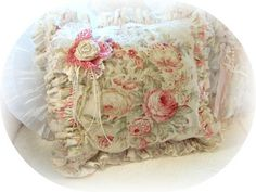 Shabby Rose Pillow-Shabby pink pillow, shabby vintage china mosaic, pink pillows, rose fabric pin, pink decor