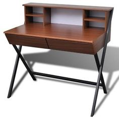 Büro Computertisch Schreibtisch Arbeitstisch PC Tisch Bürotisch Sekretär Braun   eBay