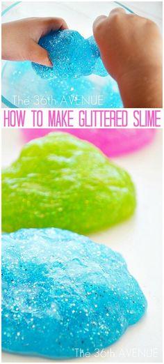 How to make glittered slime the36thavenue.com. Glitter glue borax and water