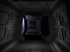 Spaceship Interior 1 Hallway 3D Lwo - 3D Model