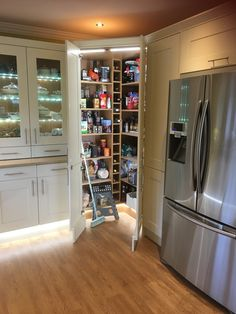 French Door Refrigerator, French Doors, Kitchen Appliances, Closet, Home Decor, Diy Kitchen Appliances, Armoire, Decoration Home, Room Decor