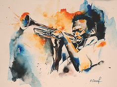 Trompettiste Miles Davis Miles Davis Art by Independent Artists. Jazz Artists, Jazz Musicians, Famous Artists, Jazz Painting, Painting & Drawing, Watercolor Paintings, Miles Davis Poster, Pop Art, Black Artwork