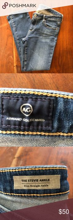 """AG Adriano Goldschmied Stevie Slim Straight Jeans Slim straight ankle jeans. Medium wash, no distressing, holes, or stains. No thinning or wear. Inseam 27"""" waist 28"""" Ag Adriano Goldschmied Jeans Skinny"""