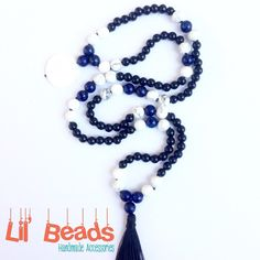 Introducing, another beautiful piece of mala necklace. This 108 beads consist of: Blue Lapis Lazuli, White Howlite, and Black Onyx, with Pearl Pendant and a black thread tassel.  #mala #malabeads #malanecklace #yogijewelry #yogajewelry #yogabeads #108 #handmade #gemstones #lapislazuli #howlite #onyx #handmadejewelry #handknotted #bohojewelry