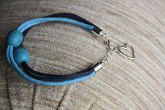bransoletka - sznurek woskowany, turkus, elementy posrebrzane