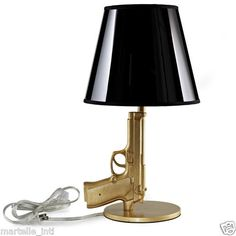 Baretta 9mm Gold Mission Impossible Table Lamp UL Listed Modern Black Shade New | eBay