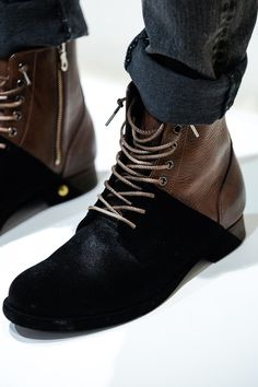 dipped black + brown shoes // Miharayasuhiro Menswear Fall Winter 2014 Paris - Fashion + Style
