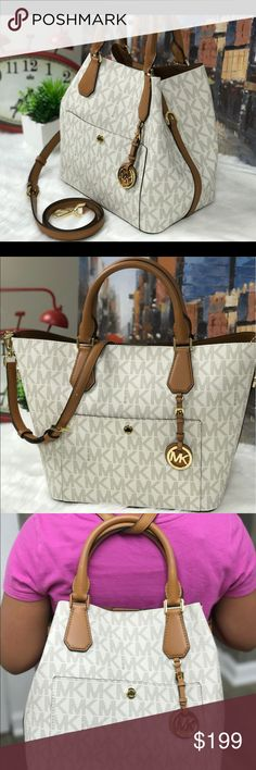 """💐MICHAEL KORS GREENWICH LARGE GRAB BAG - NEW 💐 ✅SALE 🚨You can wear this chic and stunning MK bag in 3 ways - Tote, Bucket and Backpack..  FEATURES: * EXTERIOR IN DURABLE PVC WITH DARK BROWN TOP HANDLES & ACCENTS. * MAGNETIC SNAP CLOSURE. * GOLD TONE HARDWARE. * ADJUSTABLE LEATHER SHOULDER STRAP FOR BOTH SHOULDER AND CROSSBODY WEAR. * DROP 22"""" APPROXIMATELY. * DUAL BUCKLES. * HANGING MICHAEL KORS LOGO MEDALLION. * INTERIOR WITH ONE ZIP POCKET, ONE OPEN, AND CELL PHONE SLOT. * Measurement…"""