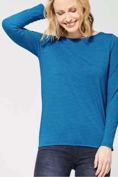 CECIL Shirt 'Marlena' in royalblau / dunkelblau Basic Shirts, Blues, Turtle Neck, Pullover, Summer, Sweaters, Shopping, Outfits, Products