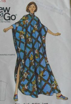 Vintage 1970's Butterick 6870 Sewing Pattern MISSES' CAFTAN Muumuu Mumu House Dress ~ Size Large 16 - 18 ~ Sew and Go Extra Easy Pattern by VMaleDetroitVintage on Etsy