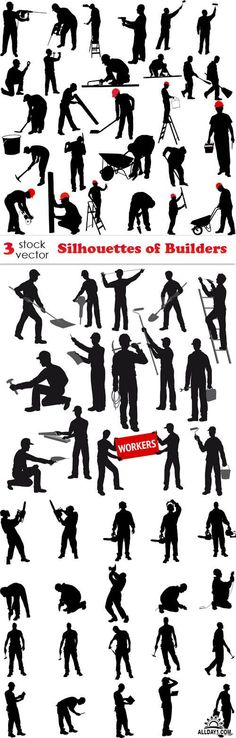 Vectors - Silhouettes of Builders