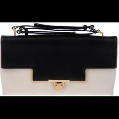 """HOST PICKLanvin Miss Sartorial Leather Bag NWT Lanvin Miss Sartorial Black & Beige Leather Two-Tone pattern, gold tone metal applications, clasp closure, lined interior.  Soft leather.   Flap Shoulder Clutch in Calfskin Leather. Black & Ivory, gold hardware, shoulder strap 13"""", Height 7"""", Width 13.5"""", Depth 1.5"""". NWT Lanvin Bags"""
